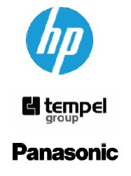 logo hp, logo tempel group, logo panasonic