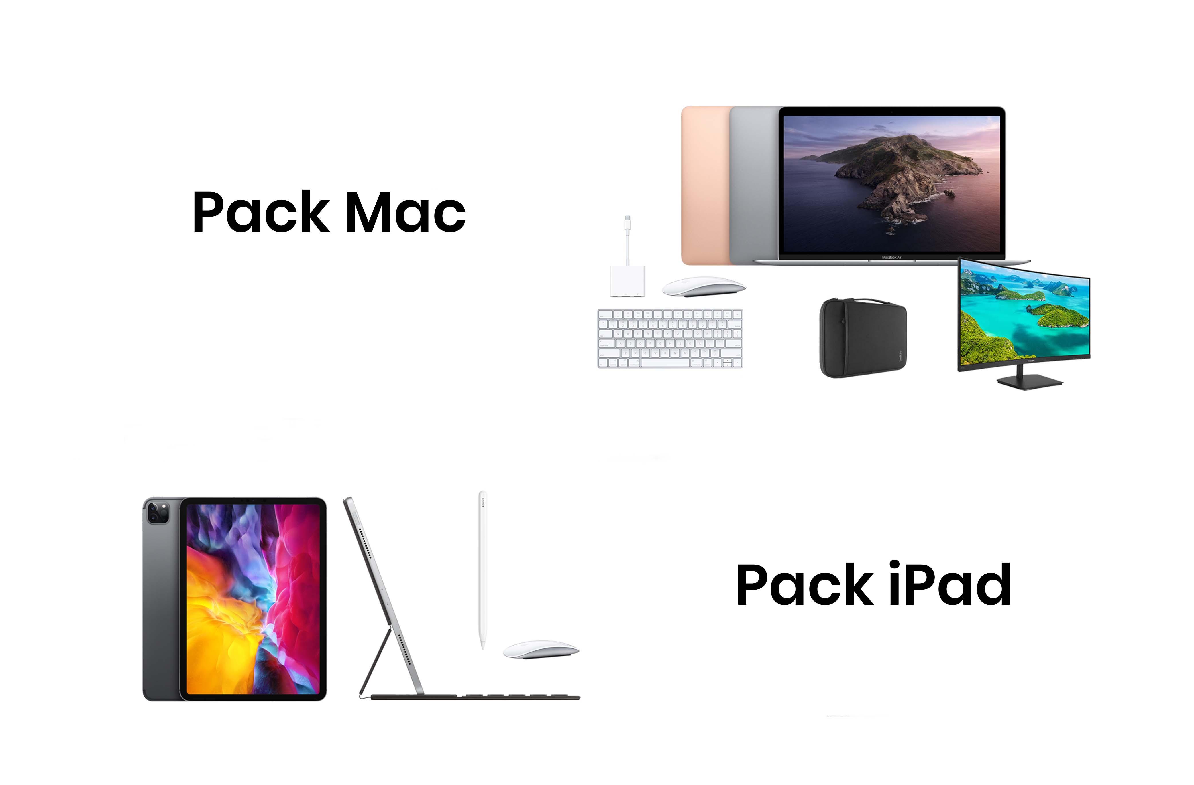 Elige tu equipo de teletrabajo ideal, iPad o Mac, por 39,99€/mes